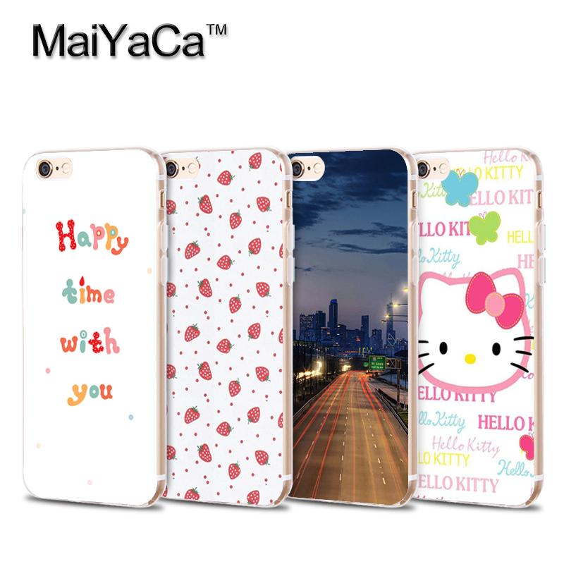 MaiYaCa Soft Transparent Phone Case for iphone 4 4s 5 5s 6 6s 7 plus Strawbery fruit night scenery Tpu iphone accessories Cover
