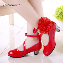 Girls Leather Shoes High Heels Fashion Children 2019 New Pink Red Flowers Princess Party Wedding