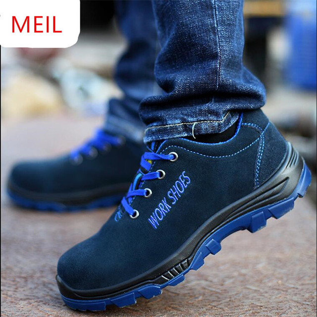 MEIL Men's Breathable Steel Toe Safety Shoes with Puncture Proof Midsole Slip Resistance Light Weight Work Boot 1