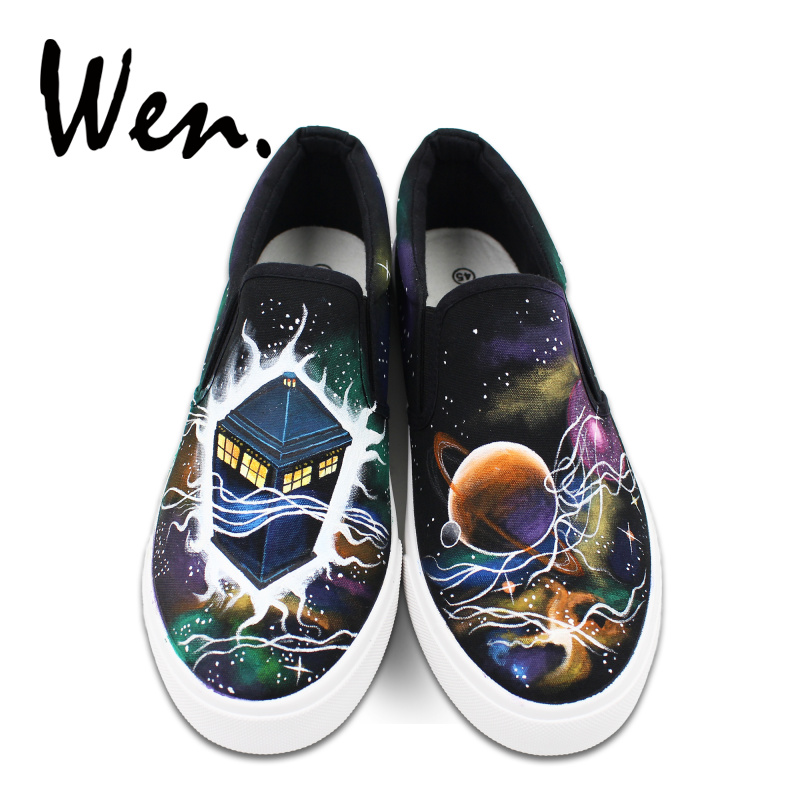 Men's Casual Shoes Wen Mens Slip On Casual Flat Canvas Shoes Shallow Mouth Galaxy Bebula Police Box Hand Painted Shoes Sneakers Platform Plimsolls