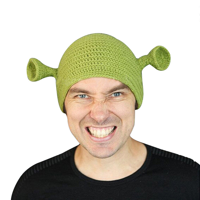 1c0d6ab44f7 Novelty Cosplay Funny Men Cap Knit Green Monster Skullies Hat With Ears  Winter Spring Beanie Hats For Women Men Halloween Gift