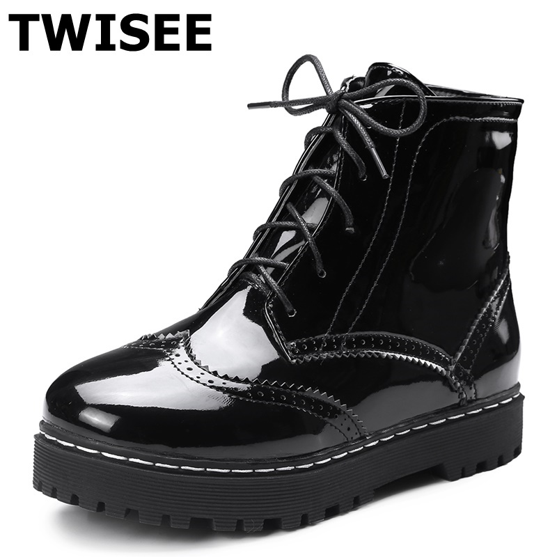 TWISEE Winter Cross-tied Women Boots Warm PU Leather Snow Boots black Brand New Style Round Toe Fashion Rubber Flats Boots