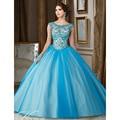 Azul Tulle Illusion Neck Vestidos Quinceanera 2017 Sweet 16 Vestidos de Baile Inchados Quinceanera Vestido com Espartilho Baguetes