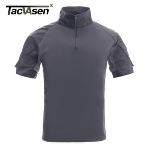 Image 3 - TACVASEN Mens הסוואה טקטי T חולצות קיץ קצר שרוול Airsoft צבא Combat חולצות ביצועים חולצות צבאי בגדים