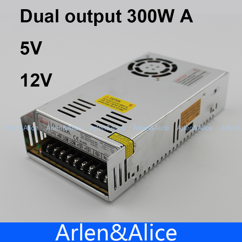 300W A Dual output 5V 12V Switching power supply AC to DC 25A DC 15.5A meanwell 12v 350w ul certificated nes series switching power supply 85 264v ac to 12v dc