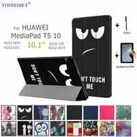 """Skórzany pokrowiec do Huawei MediaPad T5 10 pokrowiec na tableta do Huawei MediaPad T5 AGS2-W09/L09/L03/W19 10.1 """"stojak na tablet + folia"""
