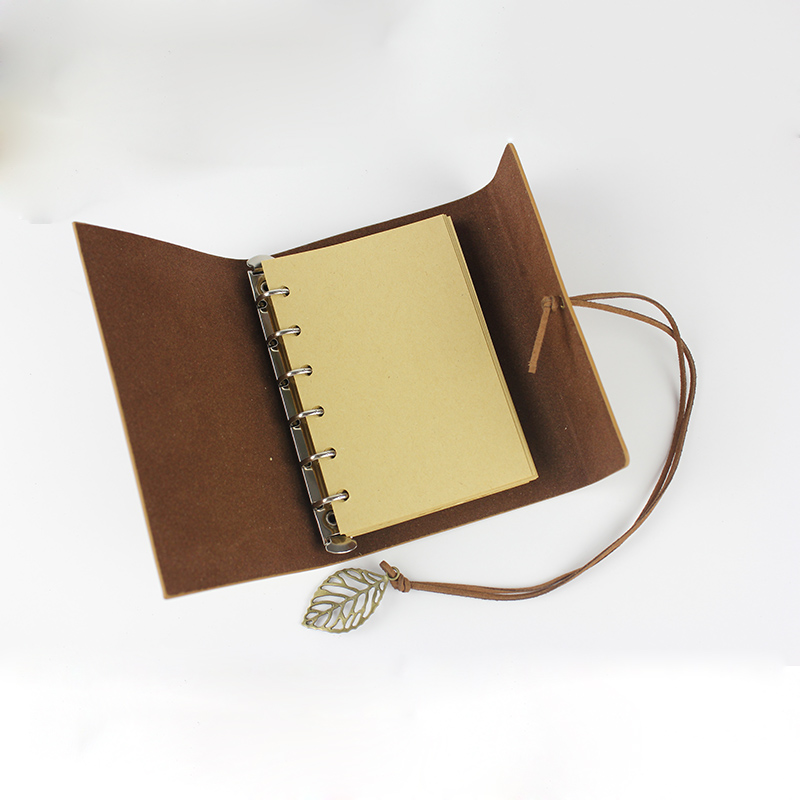 Vintage resenärens journalen läder keps rese anteckningsbok A6 A7 - Block och anteckningsböcker - Foto 5