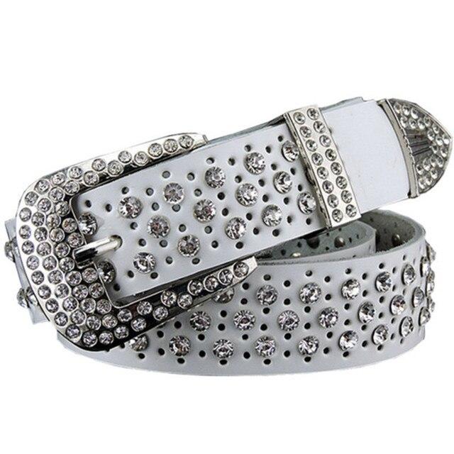 2016 New Fashion Luxury Designer Rhinestones belts for women High quality Cow skin strap female Genuine leather belt