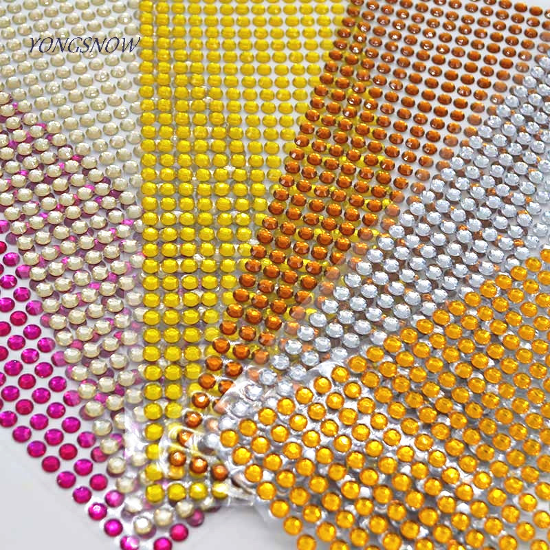 504pcs/sheet 6mm Bling Flatback Crystal Rhinestone Sticker DIY Decal Mobile/PC/Nail ArtSelf Adhesive DIY Scrapbooking Wall Car