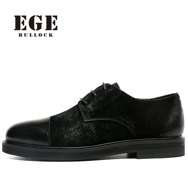 New EGE Fashion Black Men Dress Shoes,Handmade High Quality Genuine Leather Casual Men Flats,Stylish Brand Wedding Shoes Men relikey brand men casual handmade shoes cow suede male oxfords spring high quality genuine leather flats classics dress shoes