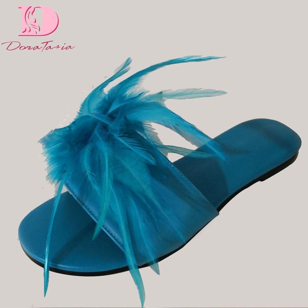 DoraTasia marque Design grande taille 35-47 loisirs plume Top qualité plage femmes chaussures d'été chaussures plates femme pantoufles tongs