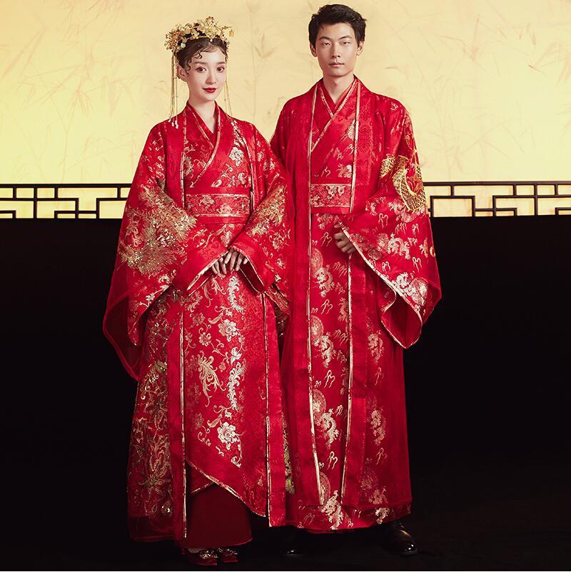 Standard Ancient China Tang Dynasty Chinese Style Hanfu Wedding Gown Clothing Women Bride Phoenix Dress Men Groom Dragon Robe
