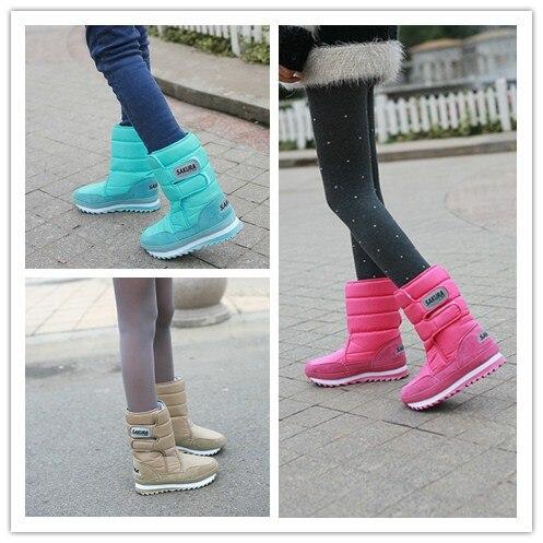 Sakura snow boots candy color medium-leg slip-resistant waterproof warm shoes - Hot time store