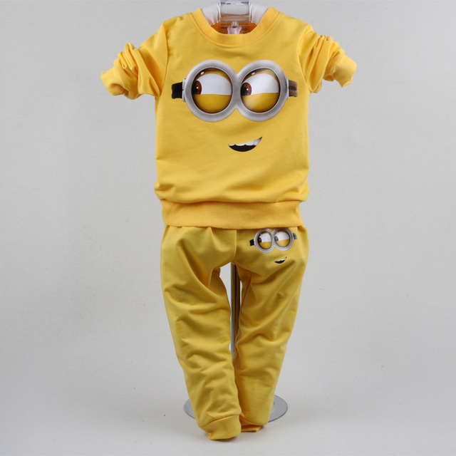 Minions Character Baby Boys Clothes Suits 1-3Years 2017 Boys Sport Suit Children Tracksuits Sweatshirts Pant 2-Piece Set Cotton