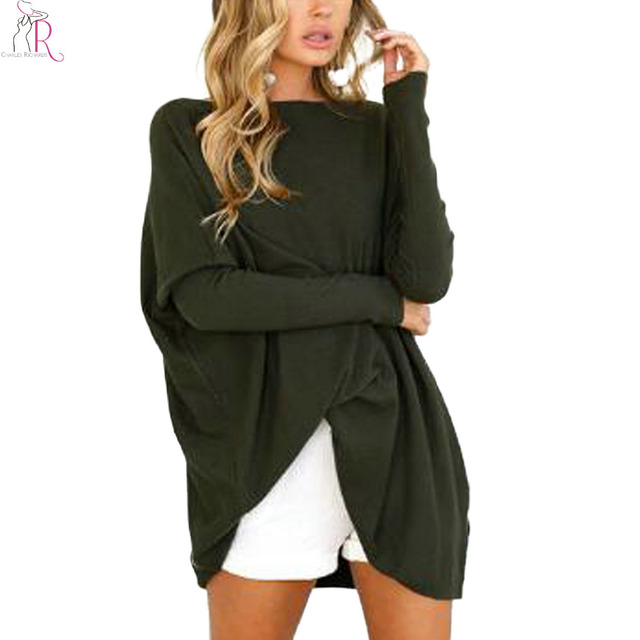 235ad672 Black Boat Neck Oversized T-shirt Women Fitted Batwing Long Sleeve 3 Colors  Casual Loose Autumn New Longline Tee Top