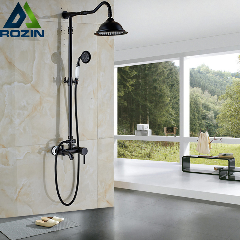 Classic 3-functions Bath Shower Faucet with Handshower Wall Mounted 8 Rainfall Shower Head Oil Rubbed Bronze Finish