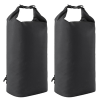 2Pieces 10L Black Waterproof Kayaking Canoeing Dry Sack Bag Sailing Fishing for Rowing Boat