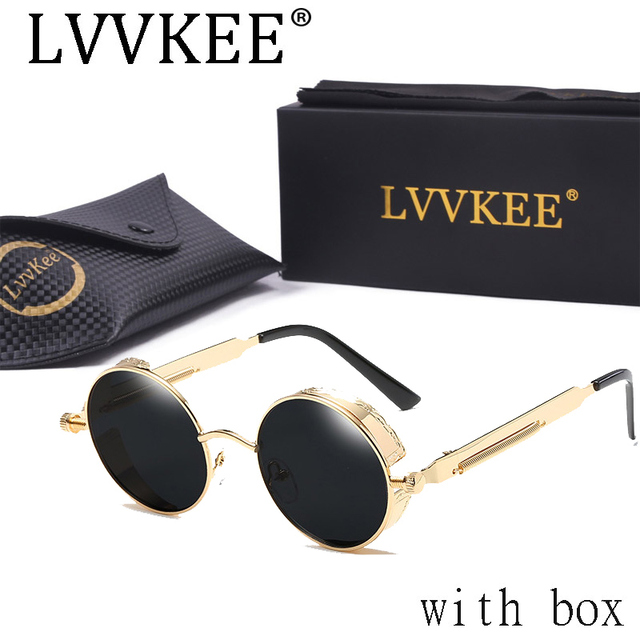 2b8acda51a Hight Quality Metal Frame Steampunk Sunglasses women Brand Designer Goggle Men  Women Gothic Sun glasses Vintage