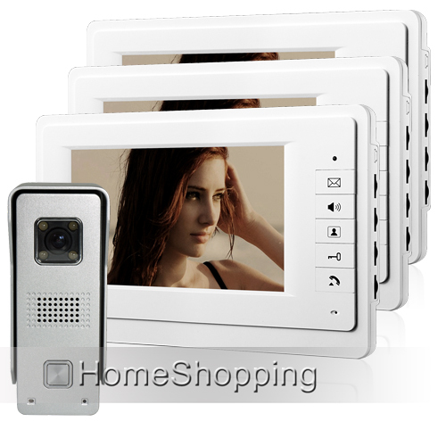 FREE SHIPPING Wired 7 inch Color Video Door Phone Intercom System 3 White Monitor + 1 Outdoor Doorbell Camera In Stock Wholesale free shipping wired home security 7 inch color video intercom door phone system 2 monitor 1 doorbell camera in stock wholesale