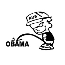 16*12.5CM Interesting Russian Bad Boy Pee Anti OBAMA Reflective Car Stickers Motorcycle Decals Black/Silver C1-0008