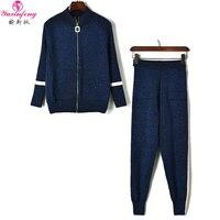 Yuxinfeng осенне зимний Трикотажный костюм со штанами Женская модная полосатая Лоскутная шерстяная куртка на молнии и штаны, комплект из двух п