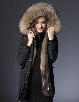 2018 зимняя куртка парки женские новые длинная парка Настоящее пальто с мехом большой енота меховым воротником парки с капюшоном плотная вер
