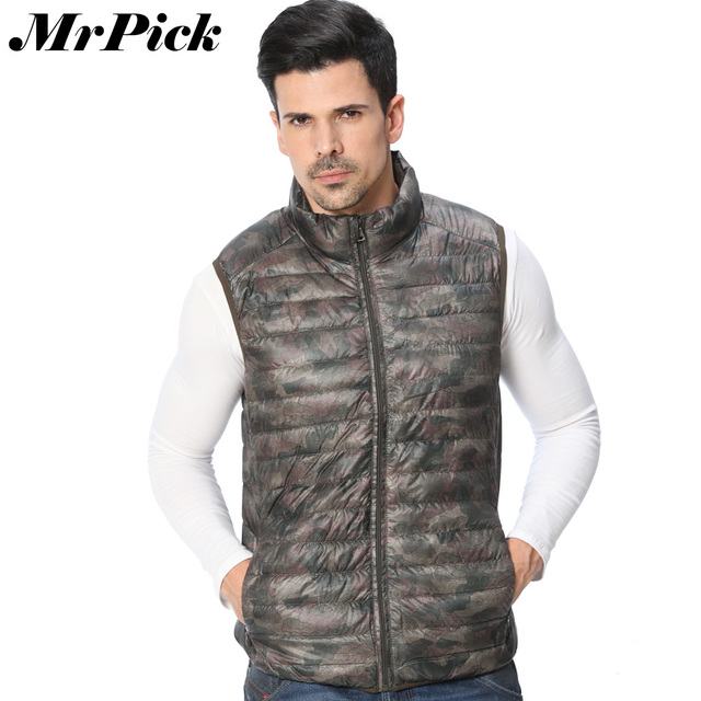 New Arrival Men Vest Coat High Quality Ultralight Camouflage 90% Duck Down Packable Fashion Slim Fit Down Puffer Vest Z1567-Euro