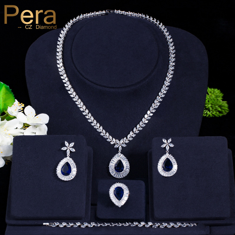 Pera Luxury Bridal Wedding 4 Pcs Blue Jewelry Set Big Water Drop Cubic Zircon Necklace Earrings Bracelet And Ring For Women J223 a suit of stylish faux sapphire rhinestone necklace bracelet earrings and ring for women