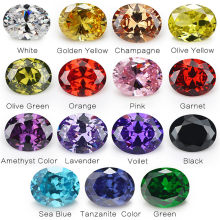 1PCS Per Colors Total 15pcs Size 4x6mm ~ 10x12mm Oval Shape Loose Cubic Zirconia Stone