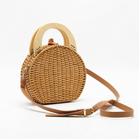 crossbody bags for women Wood handle Rattan handbag woven bag new straw bag shoulder bags women clutch round purses