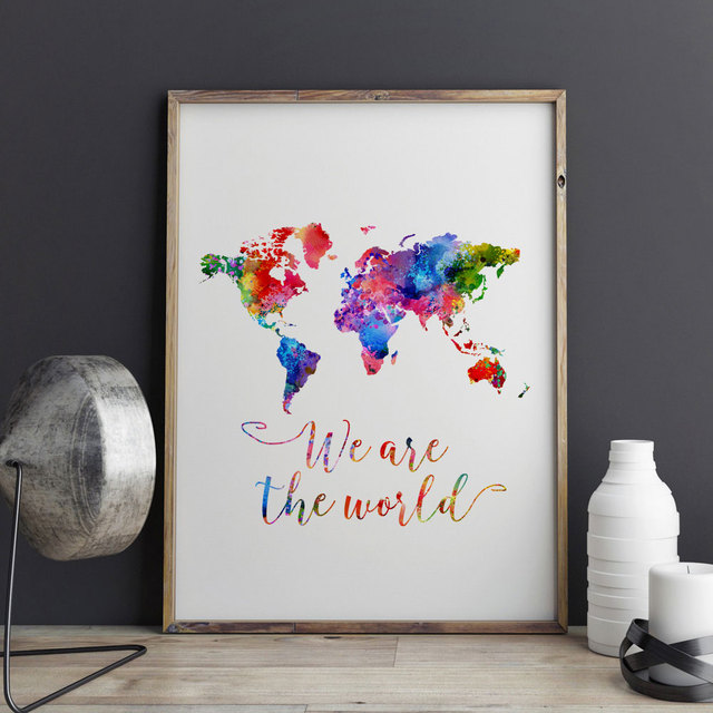 Watercolor world map art print painting wall art we are the world watercolor world map art print painting wall art we are the world quotes picture kids room gumiabroncs Image collections