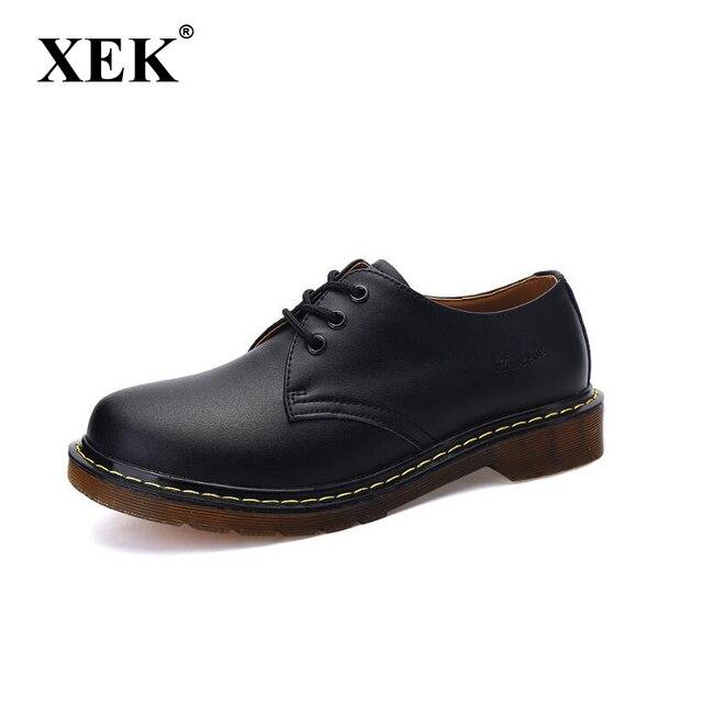 XEK 2018 Casual Boots Da Chính Hãng Men Đen Mens Khởi Động Người Đàn Ông Dr Martins Người Đàn Ông Giày Làm Việc An Toàn Giày Cộng Với wyq06