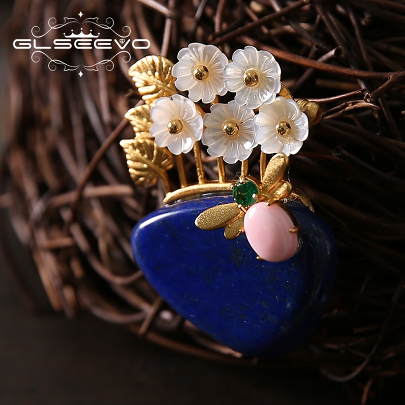 GLSEEVO Natural Lapis Lazuli Shell Flower Brooch Pin Coccinella Septempunctata Brooches For Women Dual Use Luxury Jewelry GO0182 glseevo natural lapis lazuli flower brooch pins and brooches for women accessories birthday gifts dual use luxury jewelry go0183