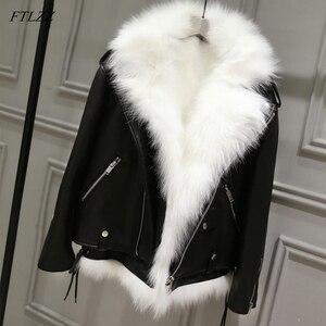 Image 2 - FTLZZ nouvelles vestes en cuir synthétique polyuréthane femmes blanc fausse fourrure gilet + noir Faux cuir Streetwear manteau court hiver femme neige vêtements dextérieur