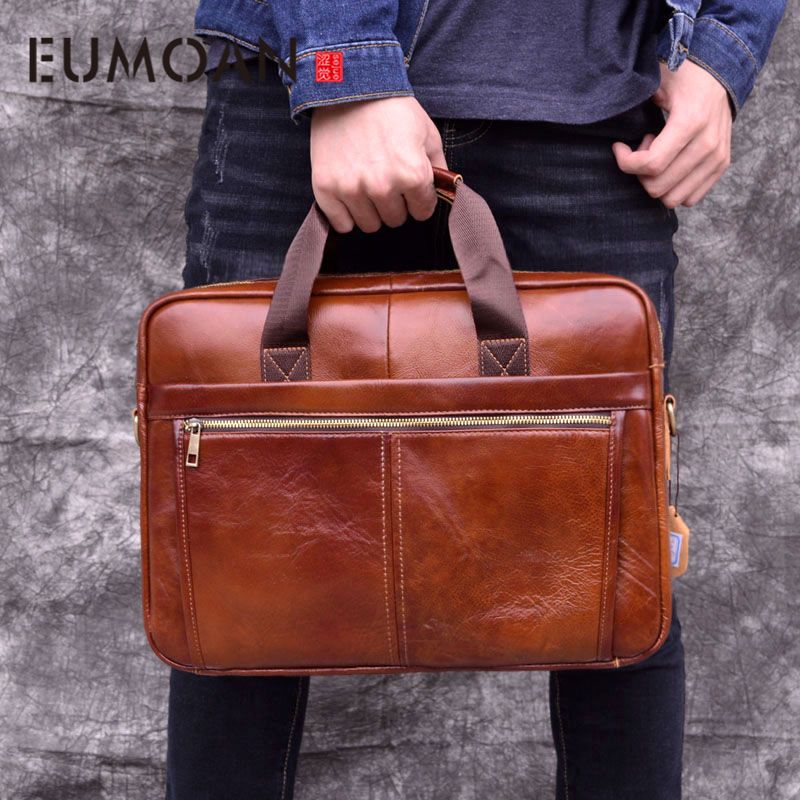 EUMOAN Cowhide Leather Briefcase Mens Genuine Leather Handbags  Men's High Quality Business Messenger Bags Laptop