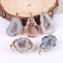 1Pc Geode Agates Pendants Silver Plated Irregular ShapeWith Purple Amethysts Quartz Pendant Fashion Jewelry