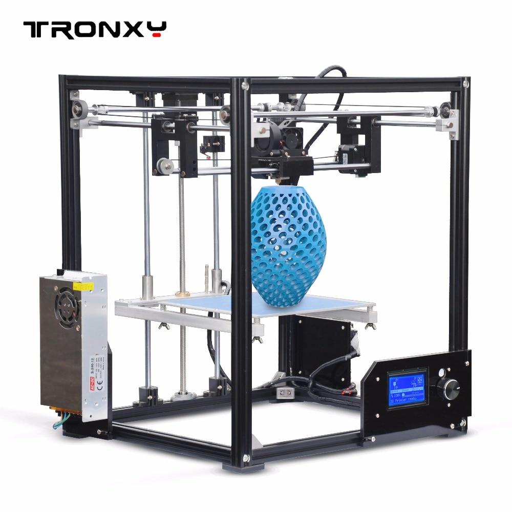 New Tronxy X5 Aluminium Profiles box DIY 3D Printer kit metal FDM Printing technology High quality large printed size 12864p LCD upgarded aluminium cube 3d printer kits bapasco x5 full metal extrusion high precision 12864p lcd big printing size 210 210 280