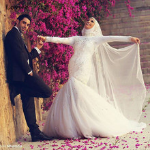 Top Beads Rhinestone Islamic Dress Indian Long Sleeve Arabic Dubai Mermaid Wedding Dress  with Veil 2017 Casamento Mariage