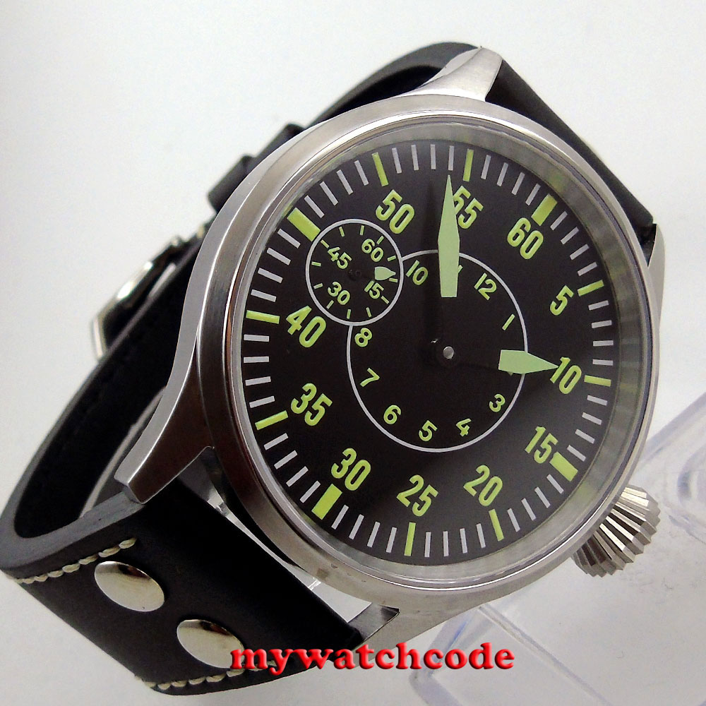 44mm corgeut black dial luminous sapphire glass 6497 hand winding mens watch C10 44mm black sterile dial green marks relojes 6497 mens mechanical hand winding watch luminous armbanduhr cm164bk