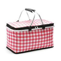 New multi function shopping basket outdoor portable folding picnic basket Oxford cloth aluminum film insulation cold picnic bag