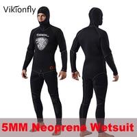 Vikionfly 5 мм черный с капюшоном неопреновый водолазный костюм для серфинга для мужчин Профессиональный купальный костюм для теплой влажной по