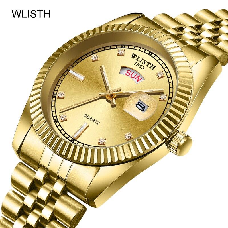 Top Luxury Brand Gold Watch Men Stainless Steel Date Week Display Men's WristWatch Golden Male Clock Classic Relogio Masculino
