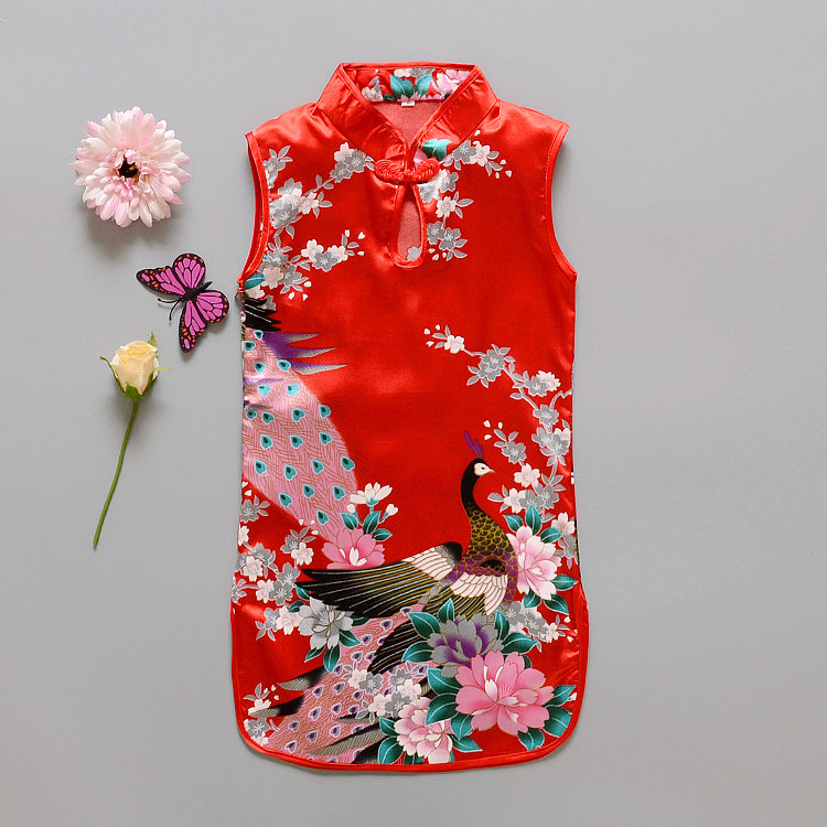 Fashion Chinese Style Flower Birds Cotton Children's Cloth  Kids Qipao Dress Sleeveless Summer Girl's  Dress dress coat traditional chinese style qipao full sleeve cheongsam costume party dress quilted princess dress cotton kids clothing