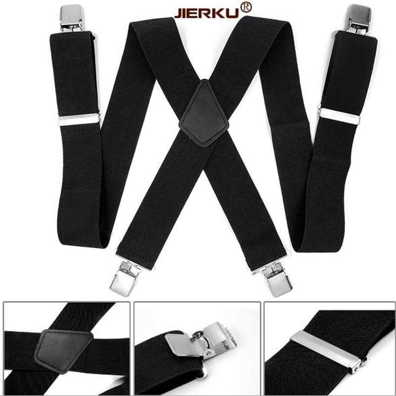 2019 New Man's Braces Black Leather Suspenders Strong 4clasps Casual Suspensorios Trousers Strap 5*120cm Gift For Dad