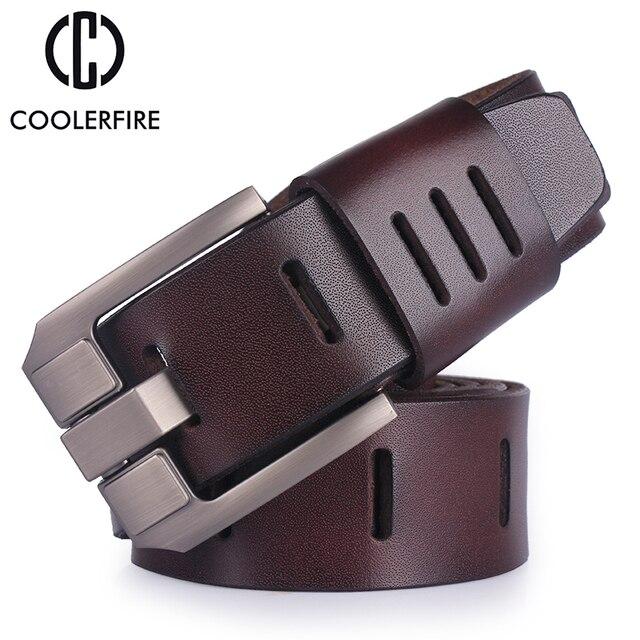 De piel de vaca de cuero genuino cinturones para hombres marca hombre  hebilla jeans cowboy cinturón f3badf9acfcd