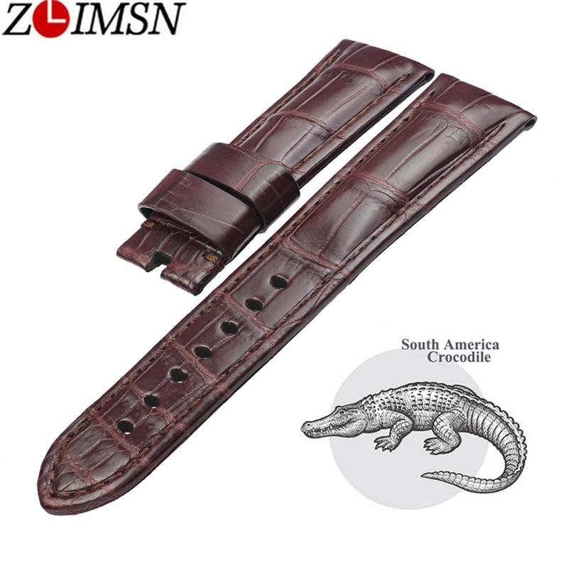 ZLIMSN Crocodile Bracelet En Cuir Rapide Installation Hommes Femmes Bracelet De Luxe Taille 12mm-26mm Approprié pour Apple 38mm 42mm Montre