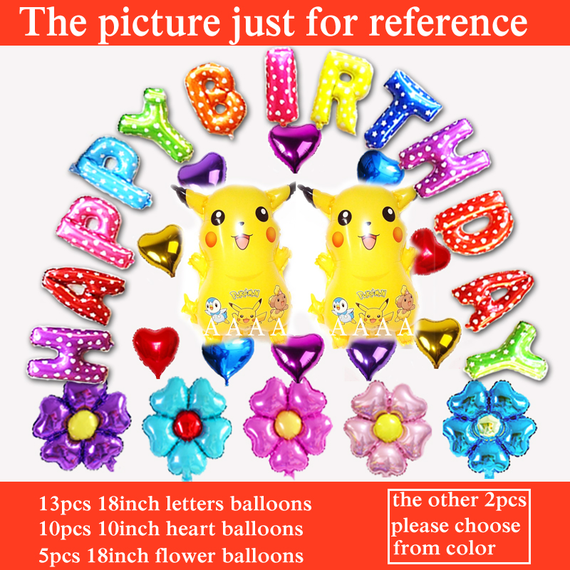30pcs birthday balloons Pikachu happy birthday set balloons for pokemon go ballo