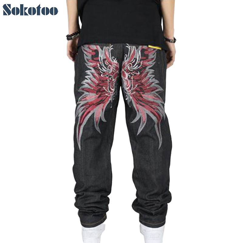 ФОТО Sokotoo Hip hop pants for men fashion street style loose jeans plus size wings embroidery long pants Free shipping