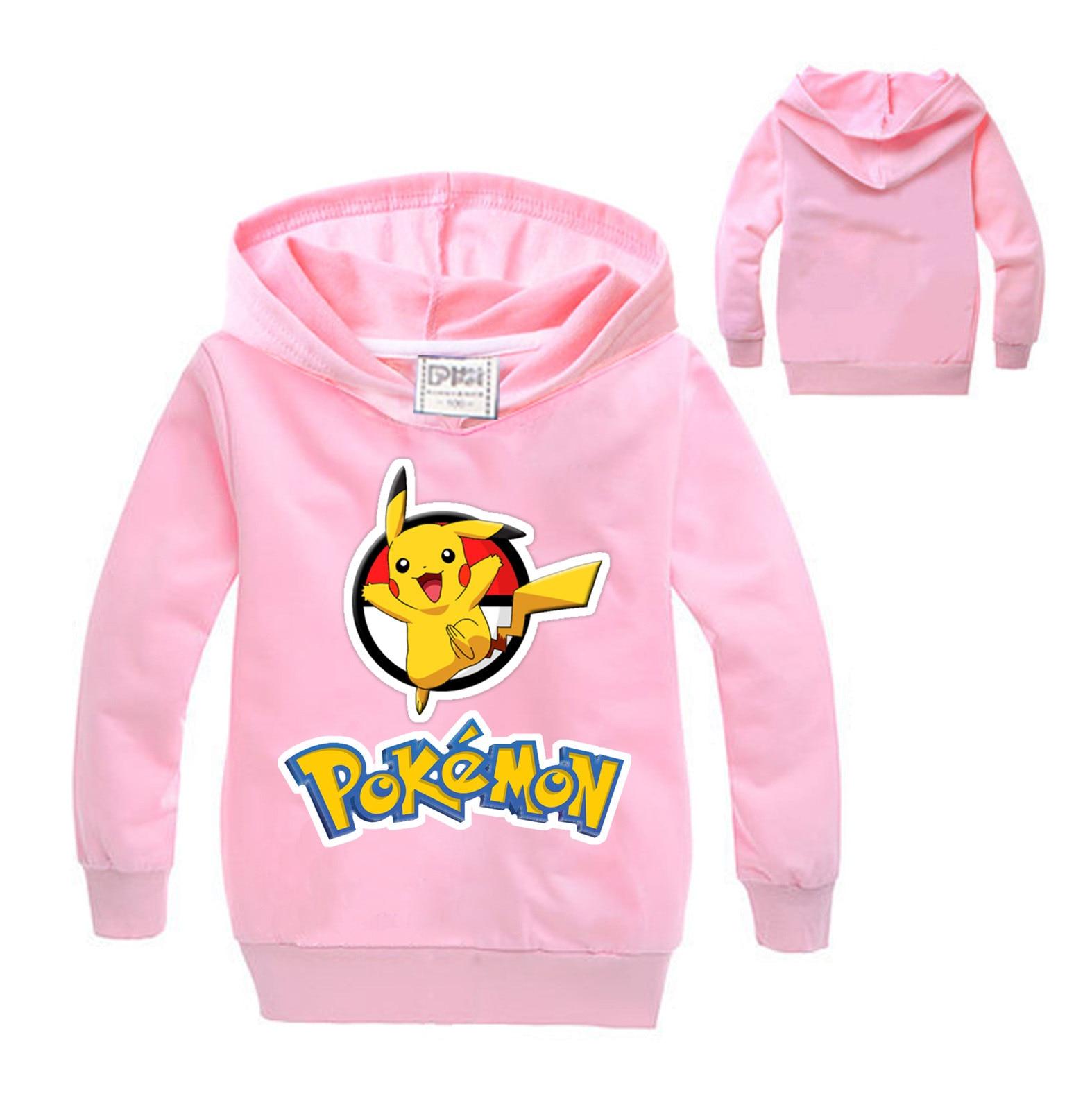 Pokemon GO Pikachu Kids Boys Girls Hoodies Hooded Pullover Sweatshirt Hoody Tops