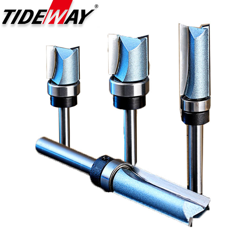 цена на Tideway 1pc 1/2 1/4 Shank Flush Trim Router Bit For Wood Woodworking Tungsten Steel Straight Bit With Bearing Milling Cutter